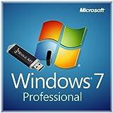 Microsoft® Windows 7 Pro ISO USB. 32 bit & 64 bit - Original Lizenzschlüssel mit bootfähigen USB Stick von Badge Art®