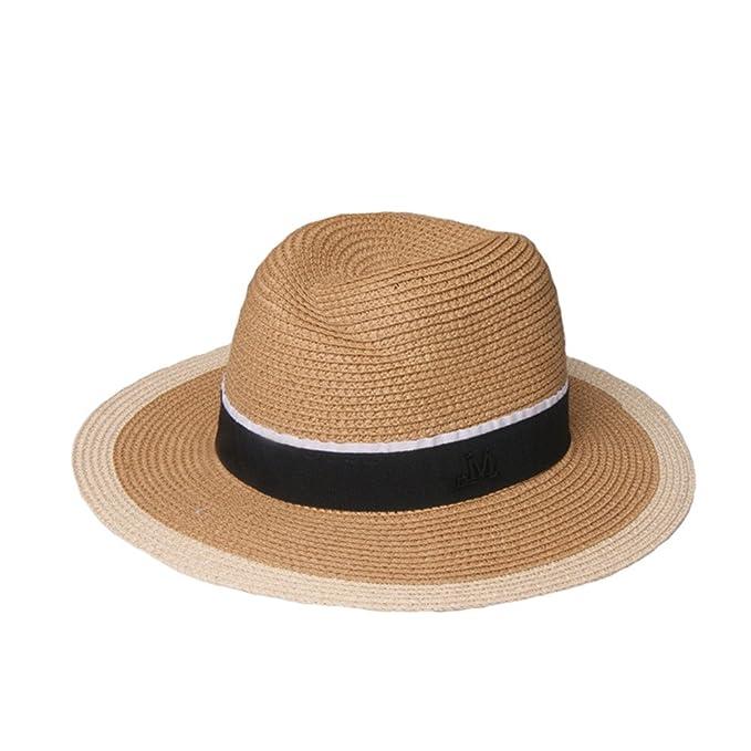Sombreros Panamá De Paja Mujeres Niñas Retro Cinta Verano Sombrero Playa Sombrero  Para El Sol c566f6a7172