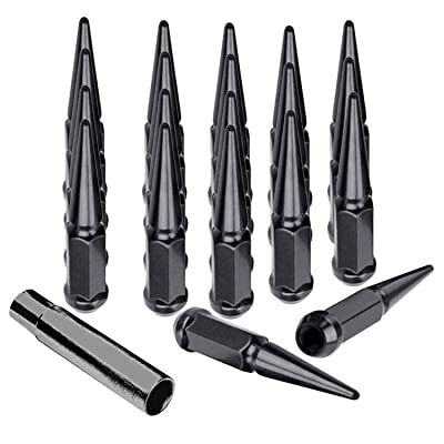 Hunting Horse Spike Lug Nuts 14mmx1.5 Set of 20 pcs with 1 Key, Black: Automotive