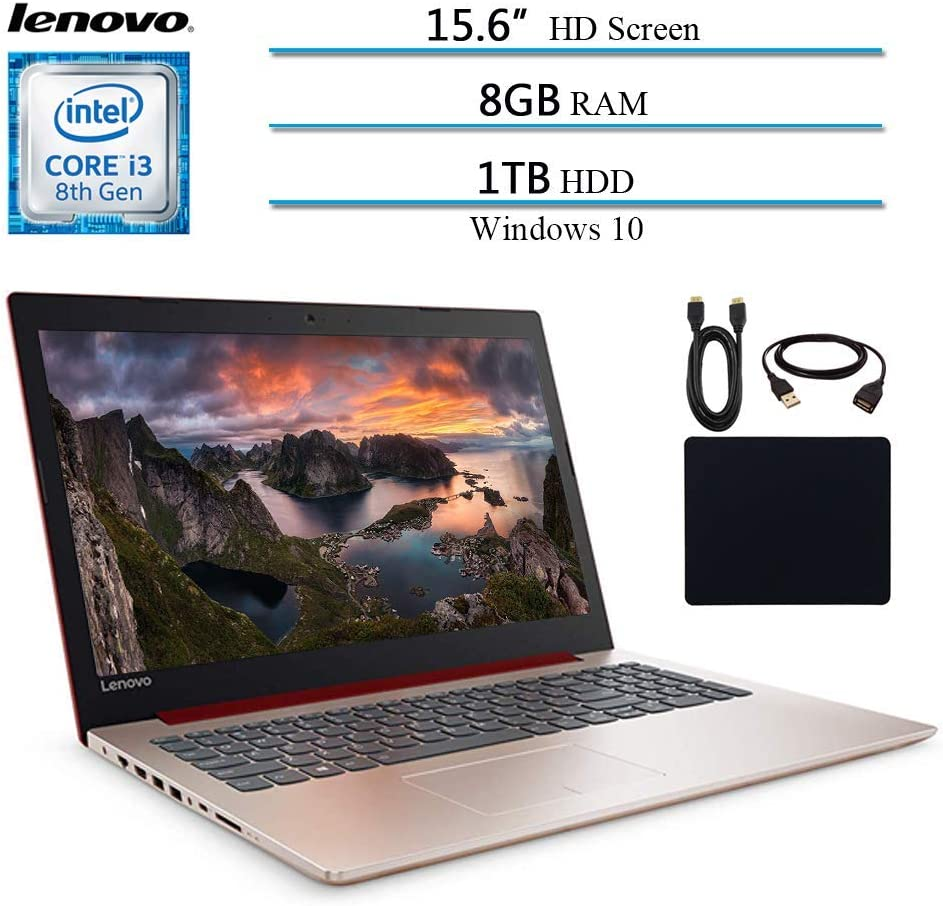 "Lenovo Ideapad 330 2019 Newest Premium 15.6"" HD Laptop Computer Notebook, Intel Core i3-8130U (Beat i5-7200U), 8GB RAM, 1TB HHD, Intel UHD 620, Win 10, Red W/ Masdrow Accessories (Renewed)"