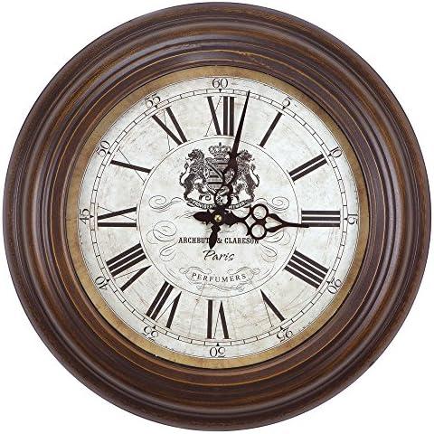 Yosemite Home Decor Circular Iron Wall Clock, Brown Frame, White Face, Black Text, Black Hands