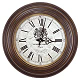Yosemite Home Decor CLKA1A097MD Circular Iron Wall Clock Brown Frame, White Face, Black Text, Black Hands