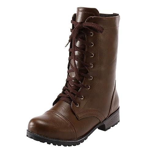 Logobeing Botas de Mujer Invierno Botines Zapatos Plataforma Moda Mujer Tacón Bajo Retro Botas Damas Altas Botas con Cordones Tobillo Abucheos: Amazon.es: ...