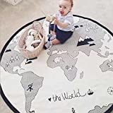 Peanutcool Cartoon Creeping Mat Baby Infant Playmat Blanket Play Game Mat Room Decoration Round Crawling Activity Pad Carpet Floor Home Rug Gift (Map - White)