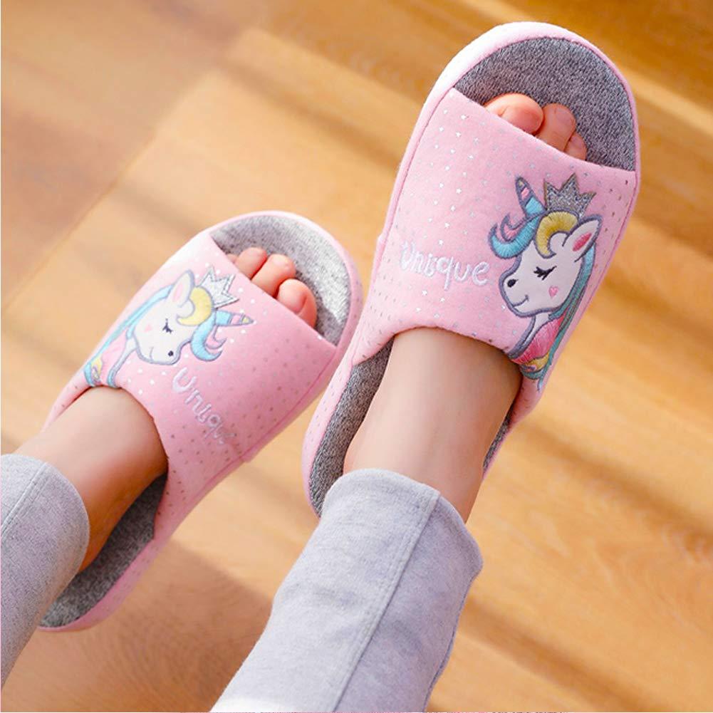 Kids Family Unicorn Slippers Household Anti-Slip Indoor Home Slippers for Girls and Boys