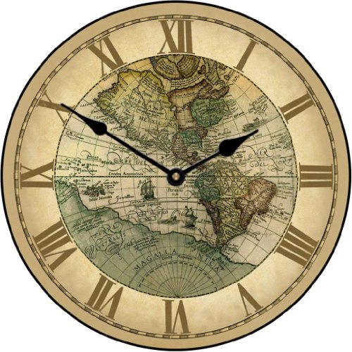 World clocks amazon the big clock store 1596 world map wall clock available in 8 sizes most sizes ship 2 3 days whisper quiet gumiabroncs Image collections