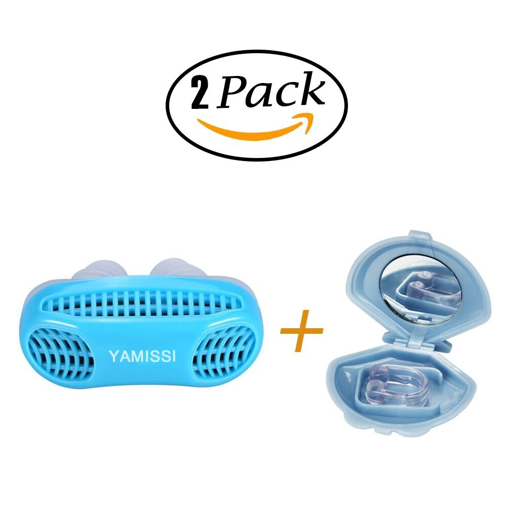 Anti-Snoring Device:Sleep Aid- 50% OFF SALE Airing,2 Pack of Silicone Air Purifier Filter Snore Stopper Device Chin Strap,Stop Snoring,Get the Restful Night you Deserve,with Travel Case -Yamissi by Yamissi (Image #1)