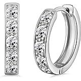 GULICX 18k White Gold Plated Hoops Huggie Earrings Princess Cut CZ Studs Sleeper Earrings Diameter 20 mm vZis3sV