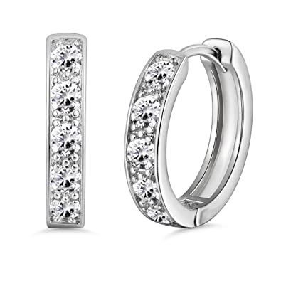 770f25290a7fc GULICX 18k White Gold Plated Hoops Huggie Earrings Princess Cut CZ Studs  Sleeper Earrings Diameter 20 mm