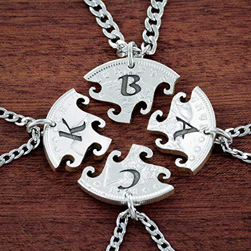 4 Best Friend Initial Necklaces, Custom Friendship or Family, Interlocking Puzzle Set From a Real US Coin, By NameCoins