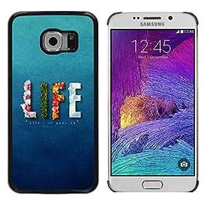 TECHCASE**Cubierta de la caja de protección la piel dura para el ** Samsung Galaxy S6 EDGE SM-G925 ** Life Floral Fire Elements Blue Text