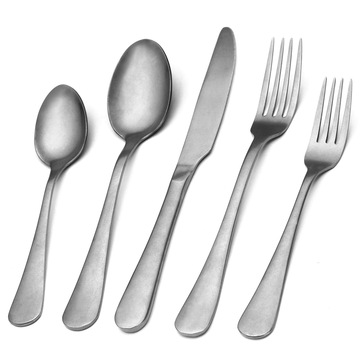 Vintage Silverware Set,20-Piece Stainless Steel Silver Grey Flatware Set With Round Edge,Kitchen Utensil Set Service for 4, Tableware Cutlery Set for Home and Restaurant, Dishwasher Safe