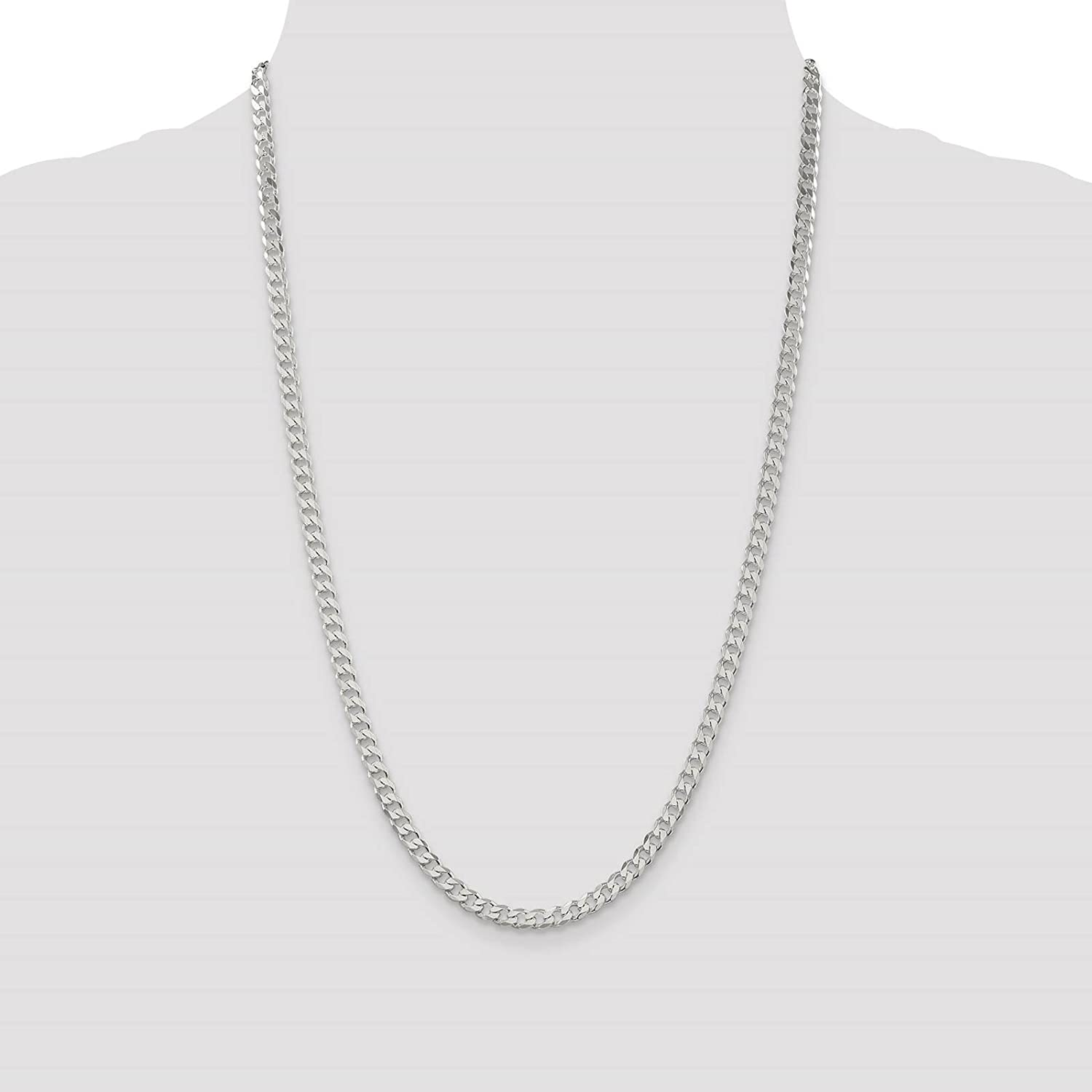 925 Sterling Silver Solid 4.2mm Polished Curb Link Chain Necklace 7-24