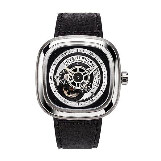 Seven Friday P-Series Reloj de hombre automático 48mm correa de cuero P1B-01: Amazon.es: Relojes