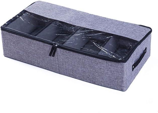 JUNSHUO Organizador de Zapatos Caja, Multifunción Plegable de Almacenaje de Zapatos para Debajo de la Cama con Cubierta de PVC Transparente y Divisores de Magic Cloth Extraíbles (Gris Oscuro): Amazon.es: Hogar