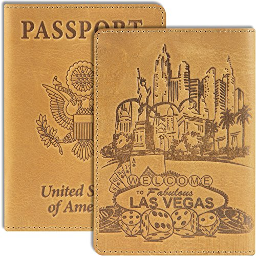 Shvigel Passport Holder Passport Cover - Leather Holder for Men & for Women Vintage - Thin US Passport Book Case (Las Vegas Light Yellow Vintage)