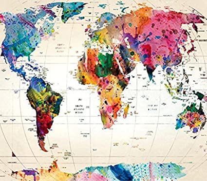 amazon com world map tapestry global map wall hanging retro art