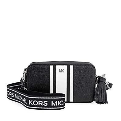 7fb7c9fb6d1c Michael Kors Small Logo Tape Camera Bag BLK/OPTICWHT: Handbags ...
