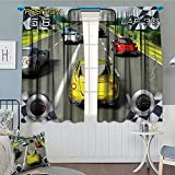 Video Games Blackout Window Curtain Cars Decor Racing Video Gaming Illustration Need Speed Road Competition Extreme Motor Sports Theme Customized Curtains 72''x84'' Multi