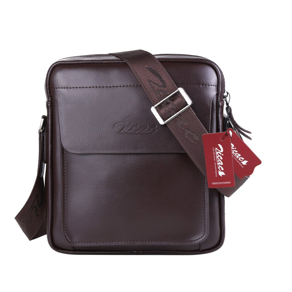 Zicac Mens Cow Split Leather Shoulder Bag Handbags Briefcase for the Office Messenger to Hold for iPad Air iPad Mini(Black)