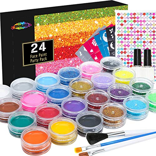 Face Paint Kit and Temporary Tattoo Glitter Set of 24 Includes 12 Large Washable Paints 12 Glitters Colors 3 Brushes 2 Glue 100 Stencils 260 Gems, Kids-Safe Face Painting – Gift for Girls and Boys