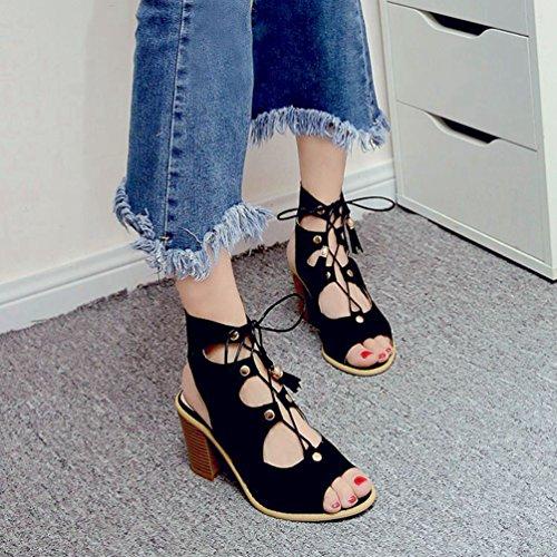 Up Femmes Chaussures en Gladiateur Sandales Strappy Lace Noir Sandales Cage Gland Romaine Talon Peep Haut Toe qgRHq