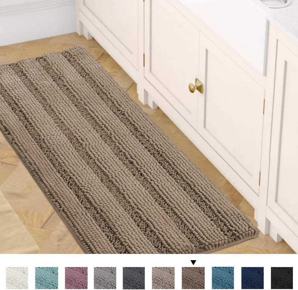 Set of 2-20 x 32//17 x 24 Bath Mats for Bathroom Extra Soft and Absorbent Striped Bath Rugs Set for Indoor//Kitchen Eggshell Blue H.VERSAILTEX Non Slip Thick Shaggy Chenille Bathroom Rugs