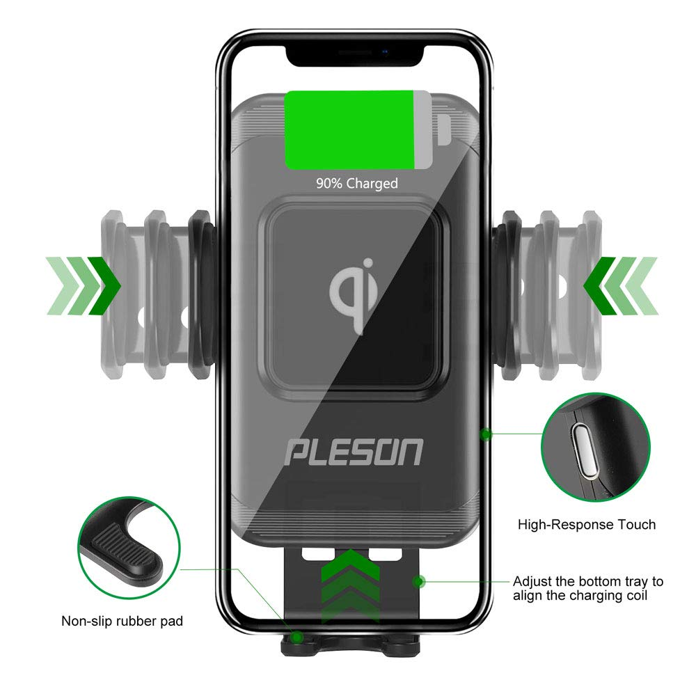 PLESON Wireless Car Charger Mount iPhone Xs//Xs Max//XR//X//8//8 Plus Auto-Clamp 10W//7.5W Qi Fast Charging Windshield Dashboard /& Vent Car Phone Holder for Galaxy S10//S10+//S9//S9+//S8//S8+//Note 9//Note 8