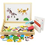 HLJgift Wooden Jigsaw Puzzle Baby Toys Animal Easel Doodle Drawing Board For Children Education Expand Imagination