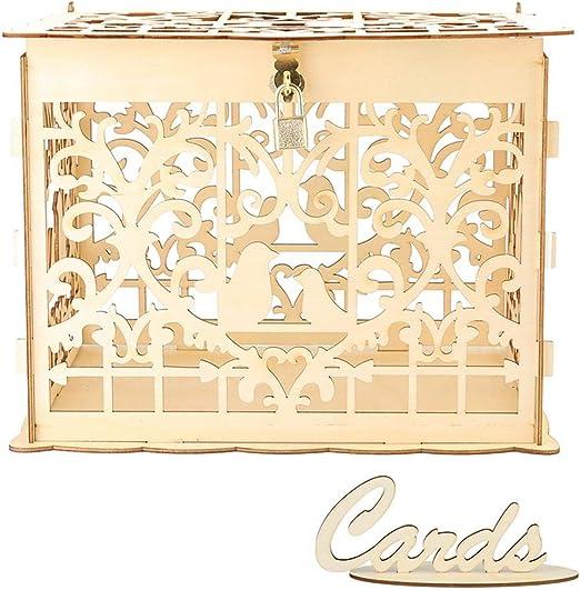 Gowind6 Invitación de boda del hueco Poste de madera caja con ...