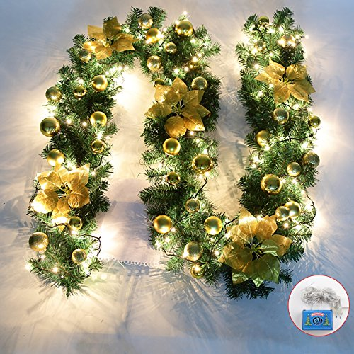 Kyerivs 9Ft Pre-Lit Christmas Garland with Warm White 40-Led Light Artificial Wreath Fireplace Xmas Tree Decoration, Gold, 270cm Christmas Garlands