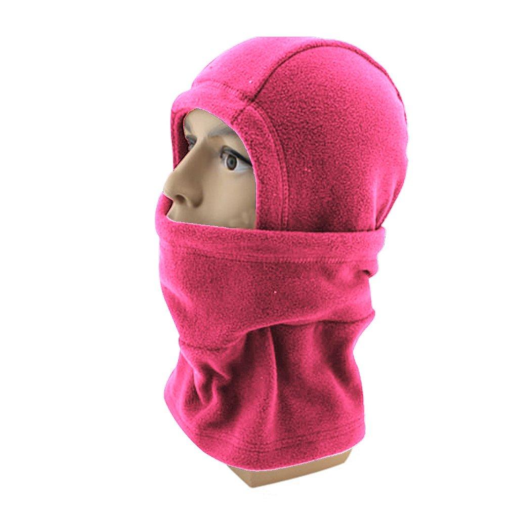 APAS Winter Thermal Outdoor Fleece Balaclava Motorcycle Ski Full Face Windproof Mask Hood Hat Cap Rose Red