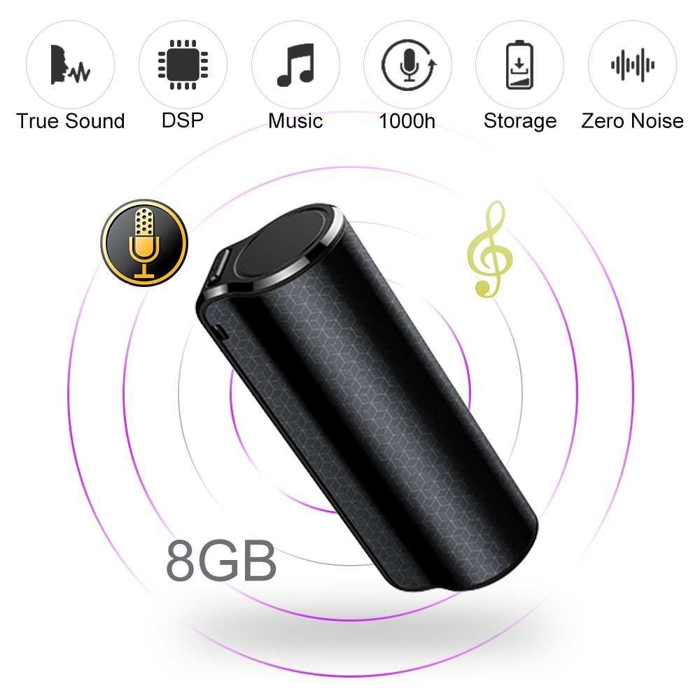 ElementDigital Voice Recorder Digital Audio Recorder 8GB Voice Activated with Mp3 Player One Button Recording & Save Non-Stop 1000h Recording Perfect for Monitor Speech Portable Concealed (8GB) by ElementDigital