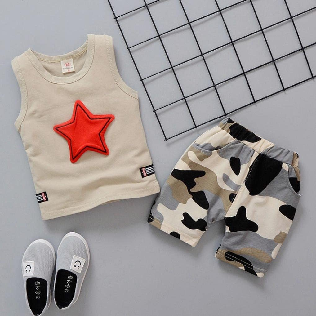 Pollyhb Bady Boy Clothes Set 6 Months - 4 Years Toddler Kids Baby Boys Outfits Star Sleeveless Vest Tops+Camouflage Pants