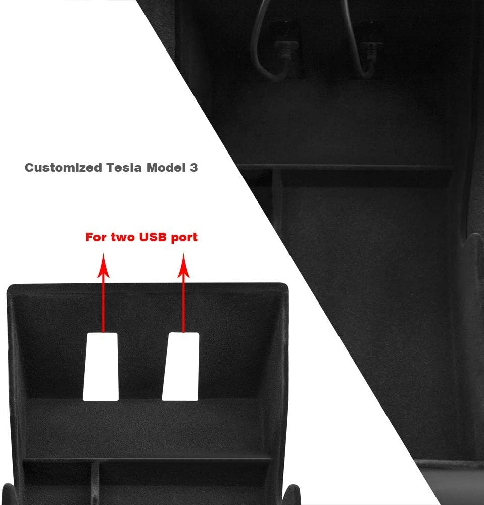 Black with lint Updated Black SUMK Tesla Model 3 Center Console Organizer Tray with Coin Card Sun Glasses Box Insert Armrest Storage Holder for Tesla Model 3 Accessories Black