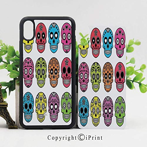 Case for iPhone X,Ornate Colorful Traditional Mexian Halloween Skull Icons Dead Humor Folk Art Print Shockproof Sleek Design Anti-Scratch Anti-Slip Hard Protective Cases Cover for iPhone X (5.8 inch) ()
