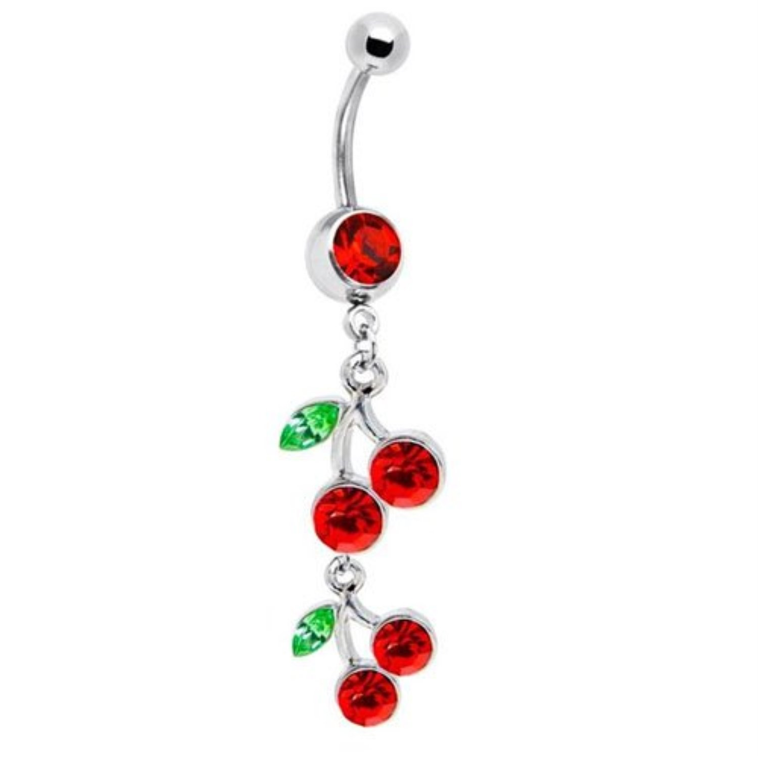 BodyJ4You Cherry Belly Ring Long Dangle Navel Ring Stainless Steel 14G with 1 Belly Retainer BN1125