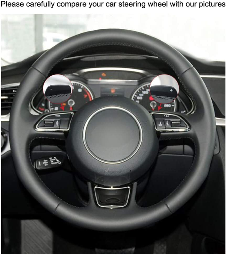 KAIZGMXJ Couvre Volant en Similicuir Noir Cousu /à la Main pour Audi A1 8X Sportback A4 B8 Avant A5 8T A6 C7 A7 G8 A8 2012-2016