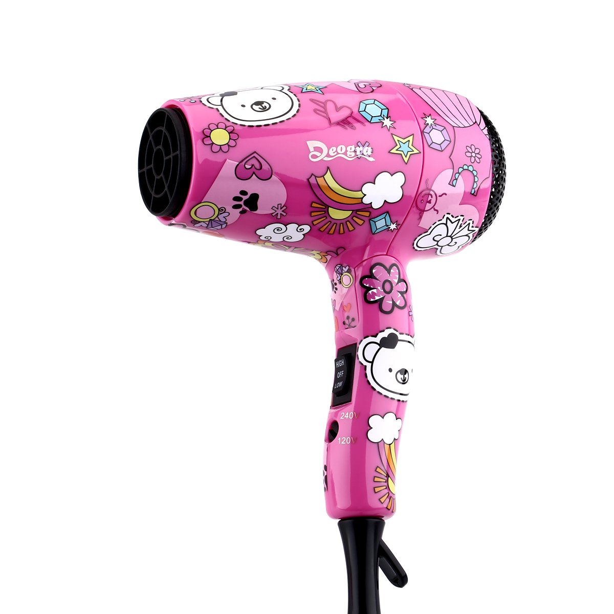 Deogra 1000W Foldable Kids Hair Dryer with ALCI Plug Compact Handle Blow Dryer with Diffuser Nozzle Dual Voltage for Home Use/Travel
