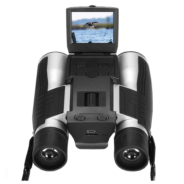 Vazussk 2 HD Digital Binoculars Camera 12×32 5MP Video Photo Recorder for Bird Watching Football Game with 8GB TF Card