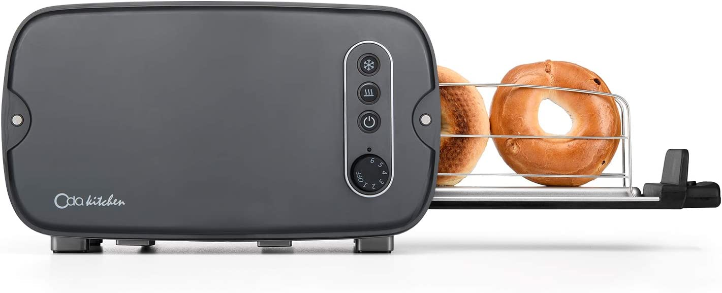 ODA KITCHEN Toaster 2 Slice with Extra Wide Slot Long Slice Toasters for Bagel Bread Sandwich Waffles, 6 Shade Settings and Removable Crumb Tray Easy to Clean, Gray 1228
