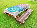 Ambesonne Yoga Outdoor Tablecloth, Boho Gypsy Mandala in Pastel Colors Mystic Floral Meditation Symbol, Decorative Washable Picnic Table Cloth, 58 X 120 inches, Dried Rose Blue and Turquoise