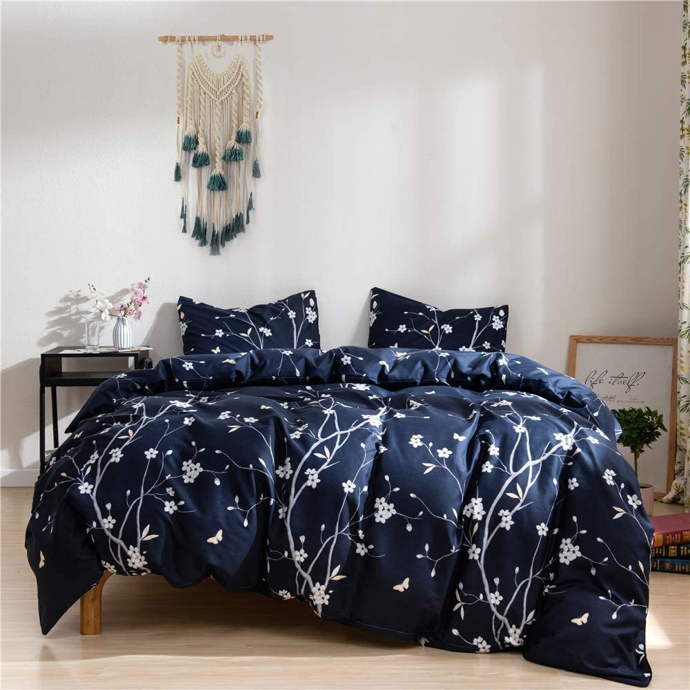 1 Duvet Cover and 2 Pillow Covers 100/% Soft Microfiber Argstar 3 Pcs Queen Floral Duvet Cover 3D Colorful Luxuriant Flowers Bedding Set Black Comforter Cover with Flowers and Leaves