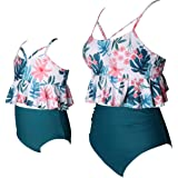 ChayChax Traje de Baño Mujer Niñas Lindo Conjunto de Bikini Madre e Hija Familia Volantes Talle Alto Trajes de Baño