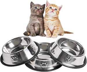 WANTKA Cat Bowl Dog Bowl Pet Stainless Steel Cat Food Water Bowl Non-Slip Rubber Base for Small Dogs Cats Animals (Sliver)