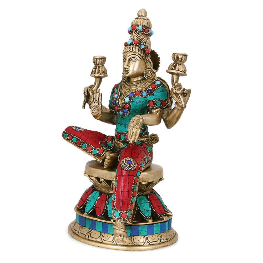 CraftVatika 1 Ft Large Lakshmi Statue Hindu Goddess Laxmi Sculpture Goddess of Wealth Prosperity Brass Turquoise Figurine by CraftVatika (Image #2)