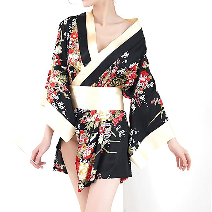 Amazon.com  Superex Sexy Japanese Kimono Lingerie Costume Set Robe ... f2ec98905