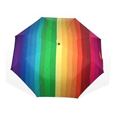Cooper girl Hand-Drawn Fairy Tale Rainbow Wind Resistant Anti-UV Folding Travel Umbrella for Women and girl 85%OFF