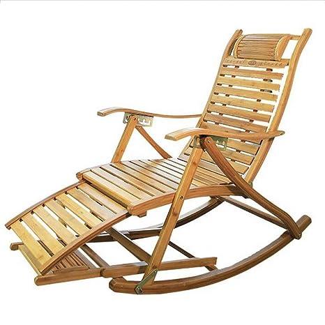 XEWNEG Silla Mecedora Plegable De Bambú Reclinable - Balcón ...
