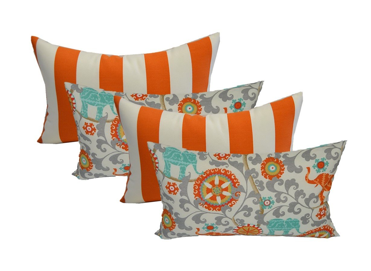 Resort Spa Home Decor Set of 4 Indoor Outdoor Decorative Accent Lumbar/Rectangle Pillows - 2 Preppy Orange and White Stripe & 2 Orange, Blue, and Gray/Grey Bohemian Elephant Menagerie Cayenne